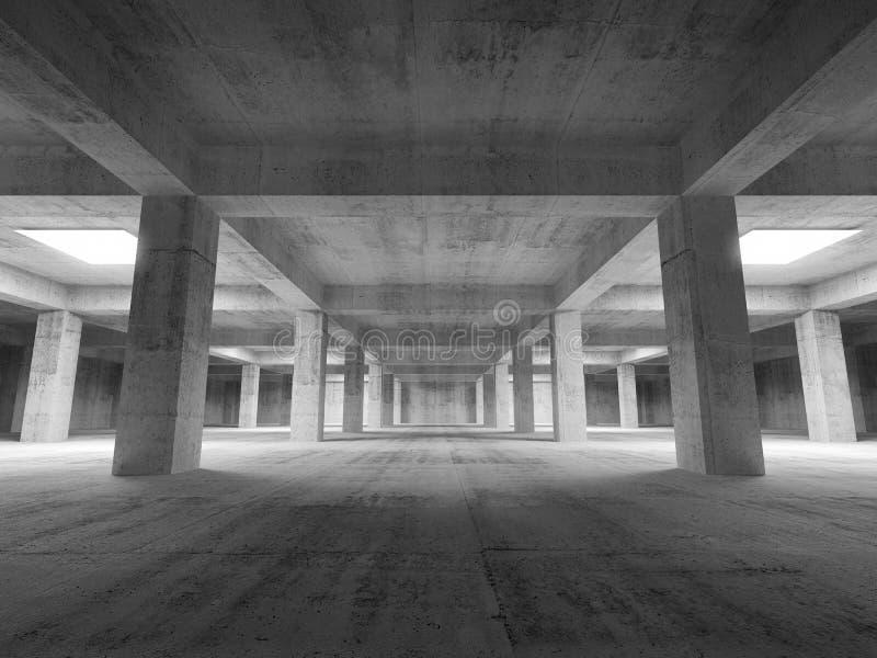 Inre för betong för tunnelbana för tomt mörkerabstrakt begrepp industriell royaltyfri illustrationer