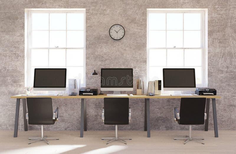 Inre för betongväggöppet utrymmekontor med ett trägolv, en tom vägg och en rad av datorskrivbord längs väggen renderin 3D vektor illustrationer