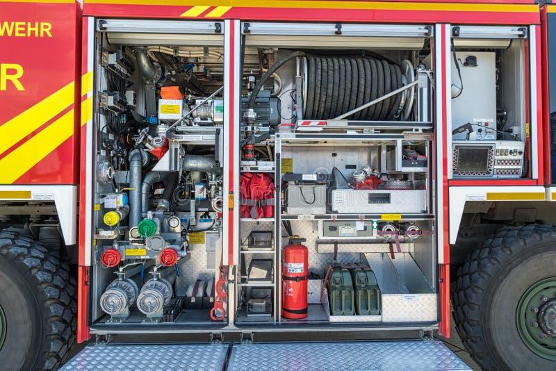 Inre för brandlastbil arkivfoto