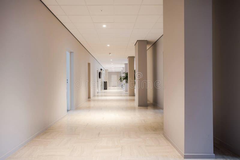 Inre för design för långt kontorshall modern tom och ren, royaltyfri fotografi