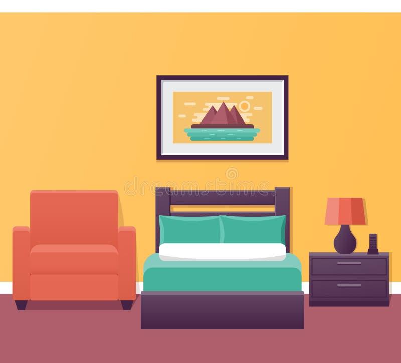Inre för enkelt rum för hotell i design också vektor för coreldrawillustration vektor illustrationer