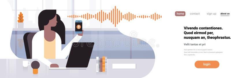 Inre för kontor för begrepp för teknologi för solida vågor för erkännande för personlig assistent för stämma för affärskvinnahåll stock illustrationer