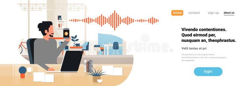 Inre för kontor för begrepp för teknologi för solida vågor för erkännande för personlig assistent för stämma för manhålltelefon i stock illustrationer