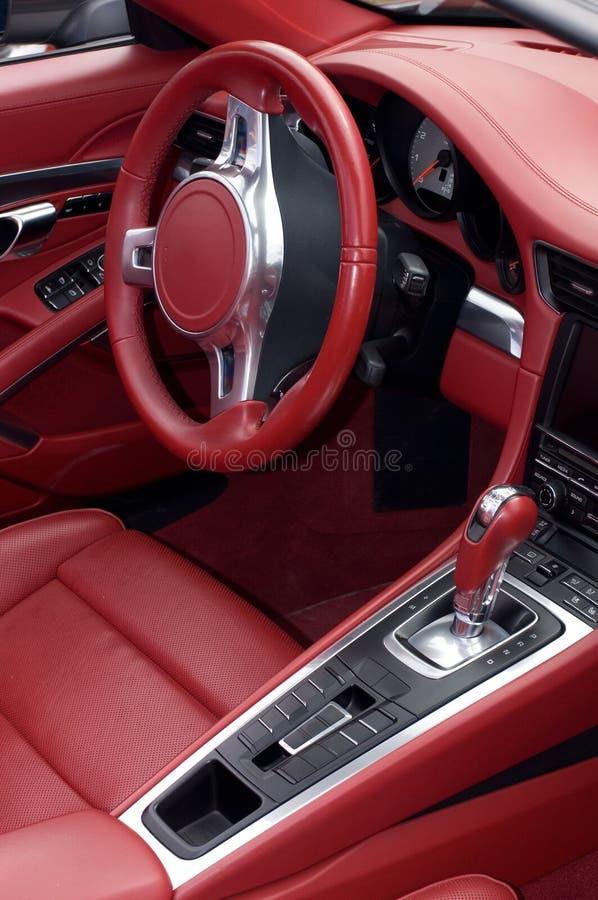 Inre för läder för sportbil röd royaltyfri foto