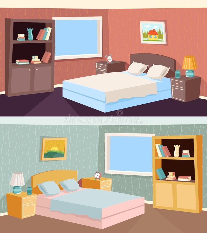Inre för Livingroom för tecknad filmsovrumlägenhet vektor illustrationer