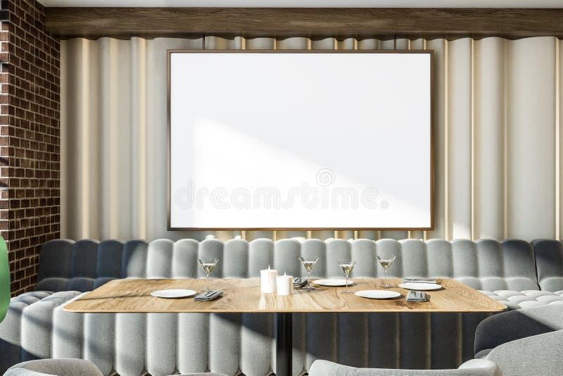 Inre för restaurang för soffor för grå färger för tegelstenvägg, affisch royaltyfri illustrationer