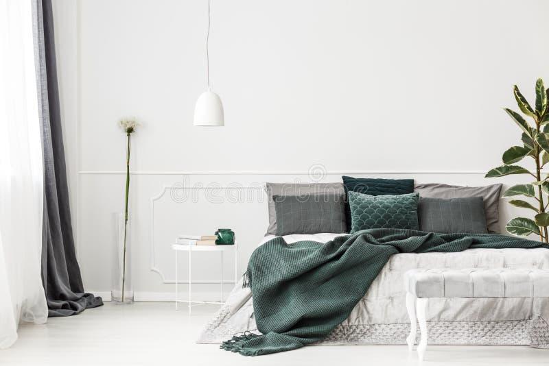 Inre för sovrum för smaragdgräsplan royaltyfri foto