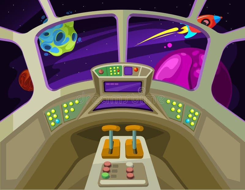 Inre för tecknad filmrymdskeppkabin med fönster in i utrymme med den främmande planetvektorillustrationen stock illustrationer