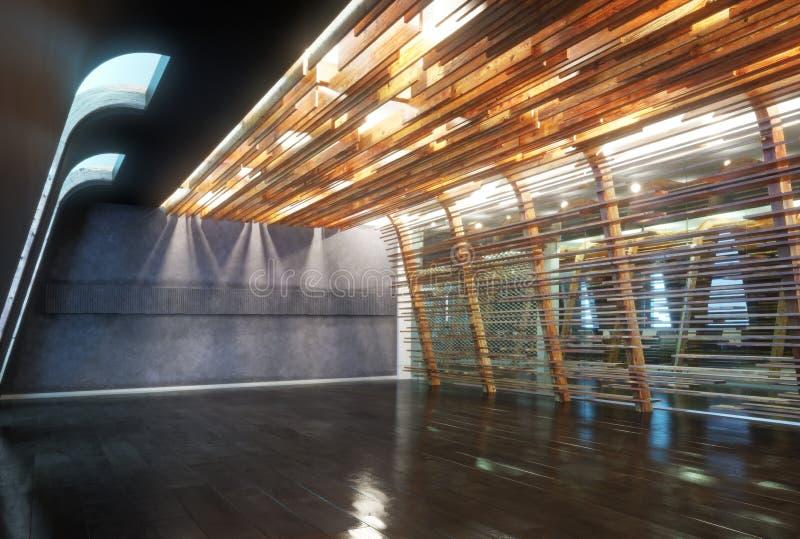 Inre för utrymme för kontor för abstrakt öppen golvaffär tom stock illustrationer