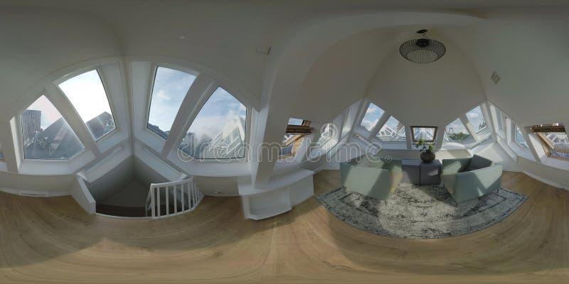 Inre för 360 VR av uppför trappan rum i kubhus nederl?ndska rotterdam arkivbild