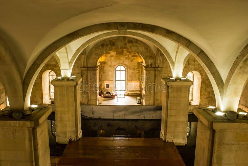 Inre gua för  för Mãe D ` Ã, Lissabon, Portugal, ett avsnitt av vattenmuseet royaltyfria bilder