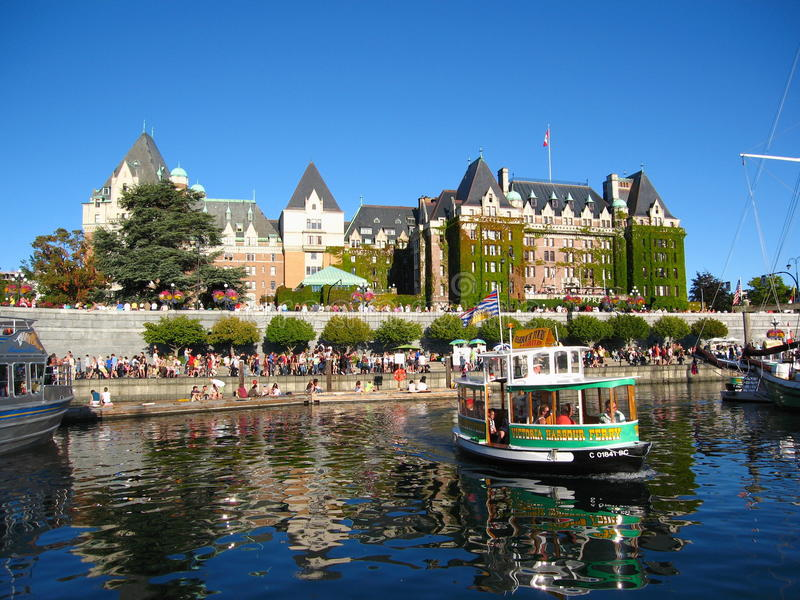 Inre hamn i Victoria på sommarafton, British Columbia arkivbilder
