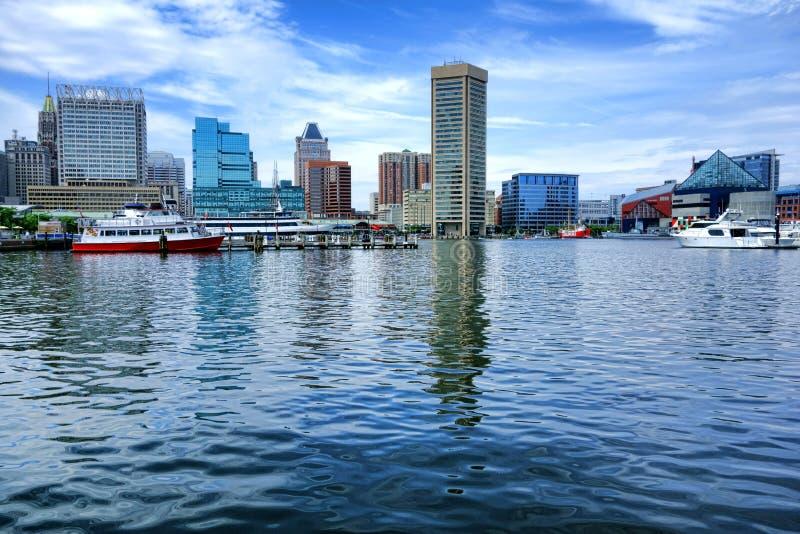 Inre hamnvattensikt i Baltimore Maryland arkivbild
