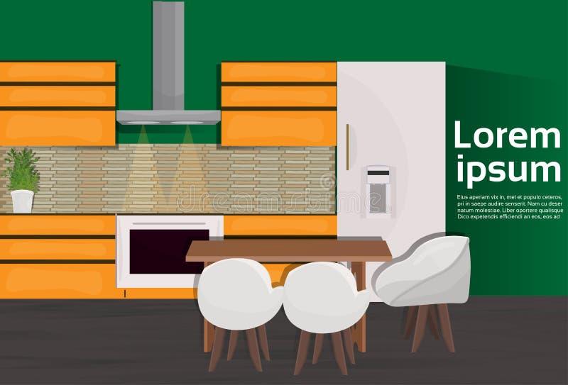 Inre husrum för modernt kök med matlagninganordningar och möblemang vektor illustrationer