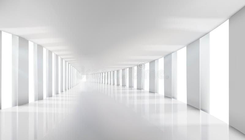 Inre i en kommersiell byggnad tomma korridorinteriorfönster också vektor för coreldrawillustration royaltyfri illustrationer