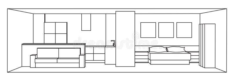 Inre illustration för vektor 3d Kök- och sovrumutrymme vektor illustrationer