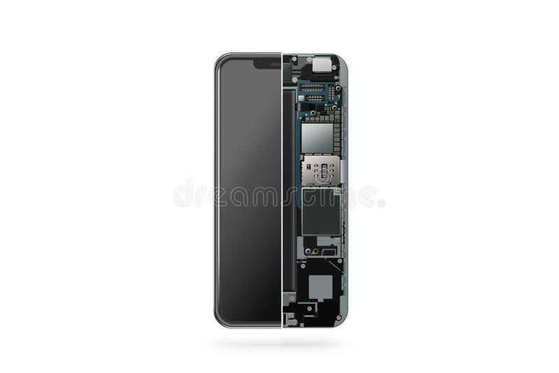 Inre isolerat för ny modern smart telefon, chip, moderkort vektor illustrationer