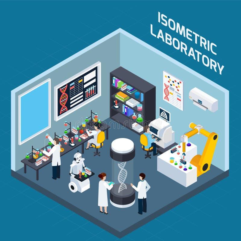Inre isometrisk design för laboratorium royaltyfri illustrationer
