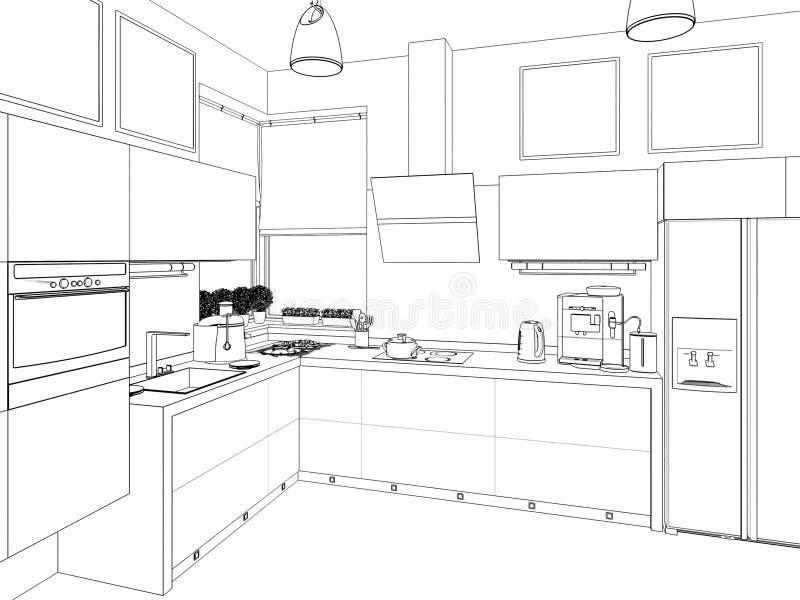 inre kök illustrationen 3D, framför royaltyfri foto