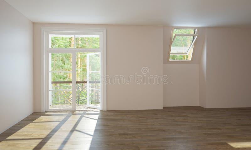Inre kök och vardagsrum, innan fullföljande arkivbild