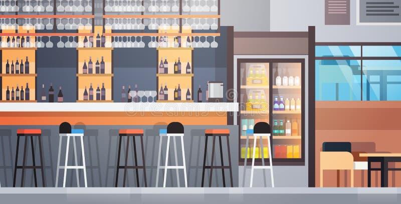 Inre kaféräknare för stång med flaskor av alkohol och exponeringsglas på hylla stock illustrationer
