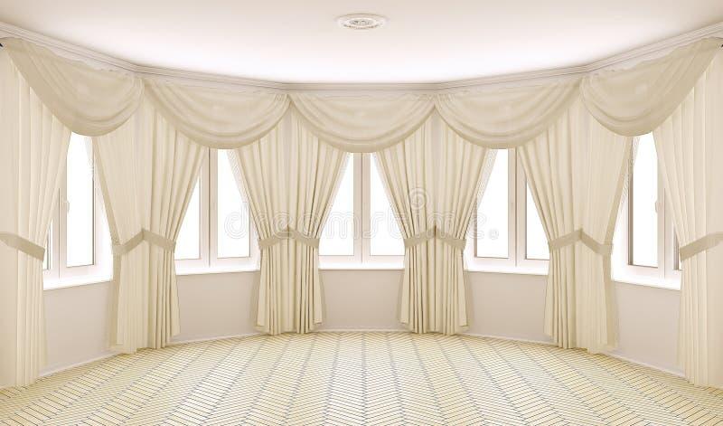 inre klassiska gardiner vektor illustrationer