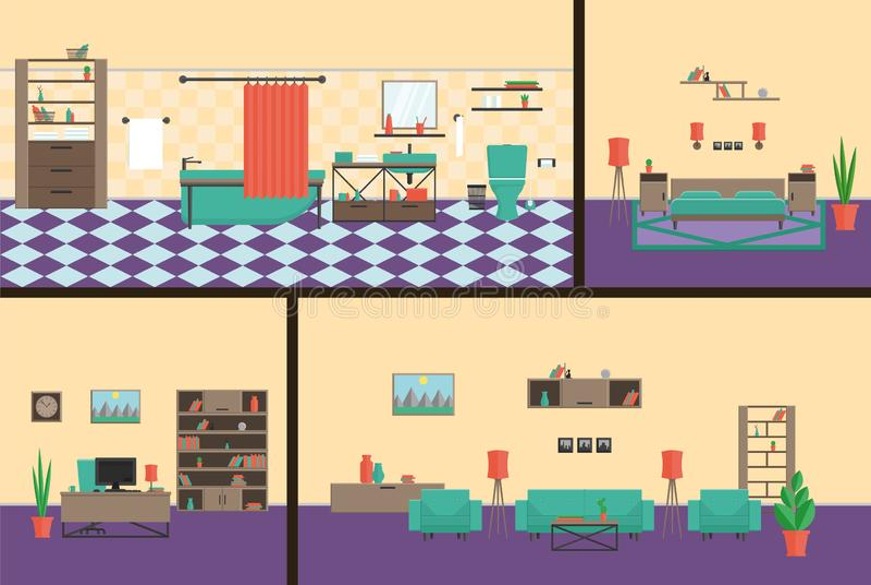 Inre kontor, sovrum, badrum, modern stil för bosatt roomin En färdig uppsättning av möblemang vektor illustrationer