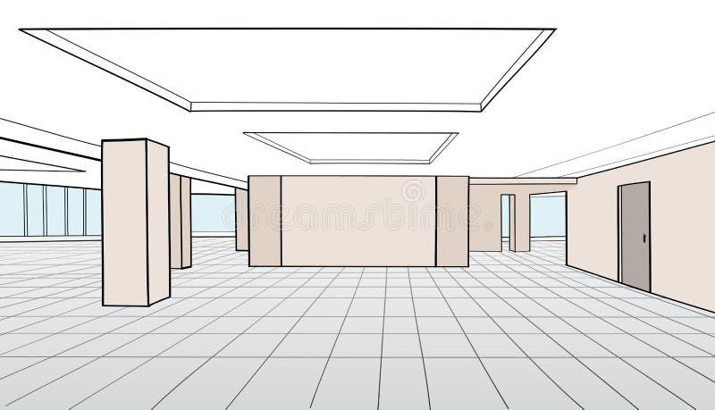 Inre kontorsrum Konferensrum för kontorsöppet utrymmeinte royaltyfri illustrationer