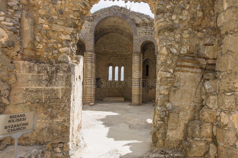 Inre Kyrenia för bysantinsk kyrka slott arkivbilder