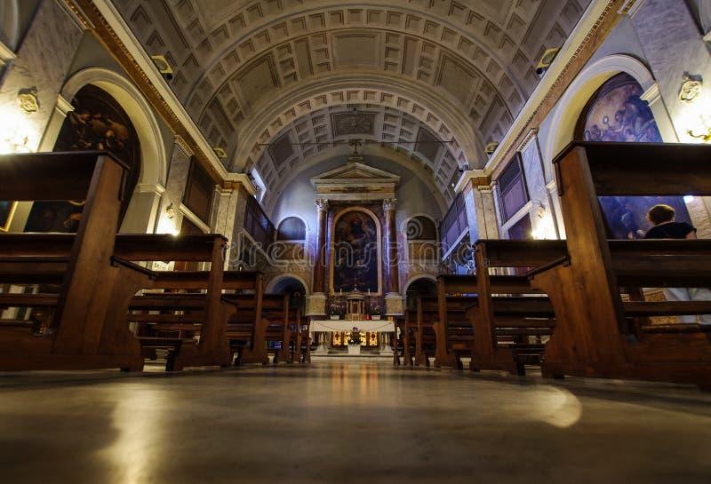 Inre kyrka för San Sebastiano alpalatino i Rome, Italien royaltyfria bilder