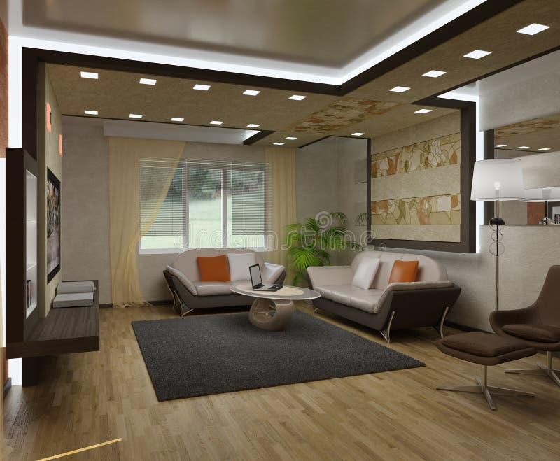 inre lägenheter 3d royaltyfri foto
