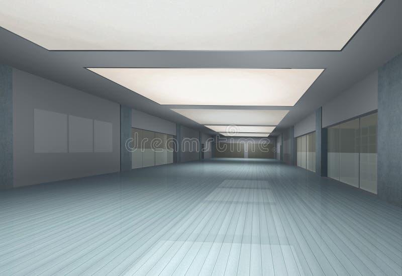 inre långt för tom korridor royaltyfri illustrationer