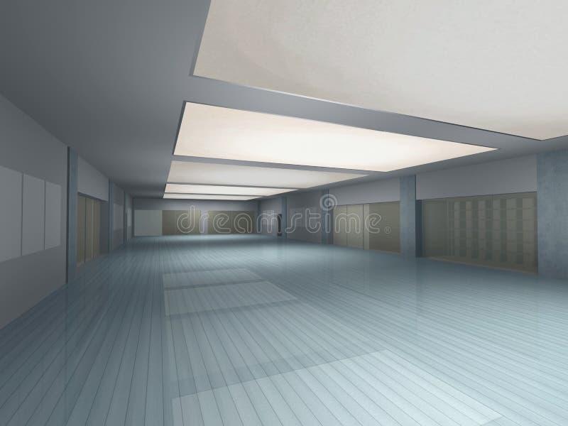 inre långt för tom korridor stock illustrationer