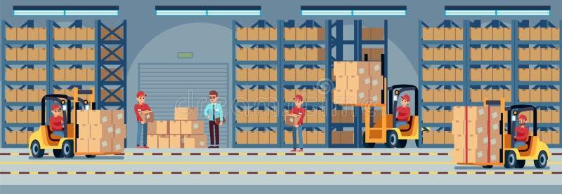 inre lager Industriell fabriksarbetare som arbetar i lagerrum av magasinet Gaffeltruck- och för leveranslastbil vektor royaltyfri illustrationer