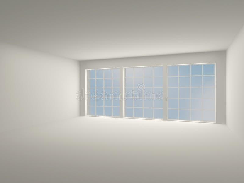 Inre ljust rum med stora fönster. modern inre 3D. royaltyfri illustrationer