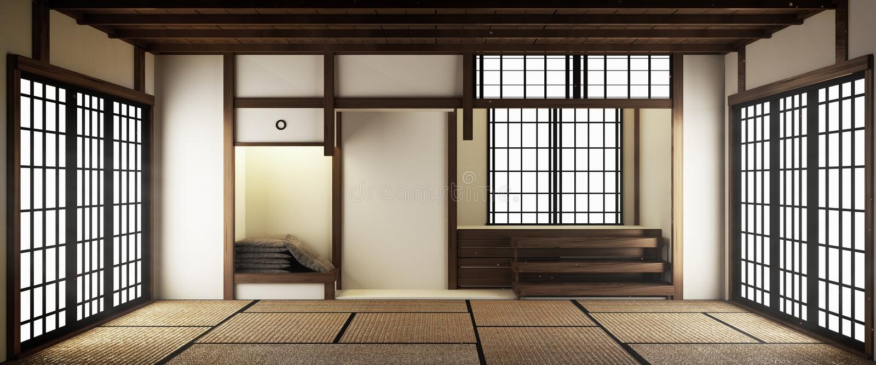 Inre lyxig modern vardagsrumåtlöje för japansk stil upp och att planlägga det mest härlig framf?rande 3d vektor illustrationer