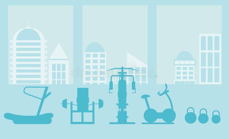 Inre mall för konditionidrottshall med sportutrustningar och cardio utrustning, motionscykel, trampkvarnar som är ellipsformiga royaltyfri illustrationer