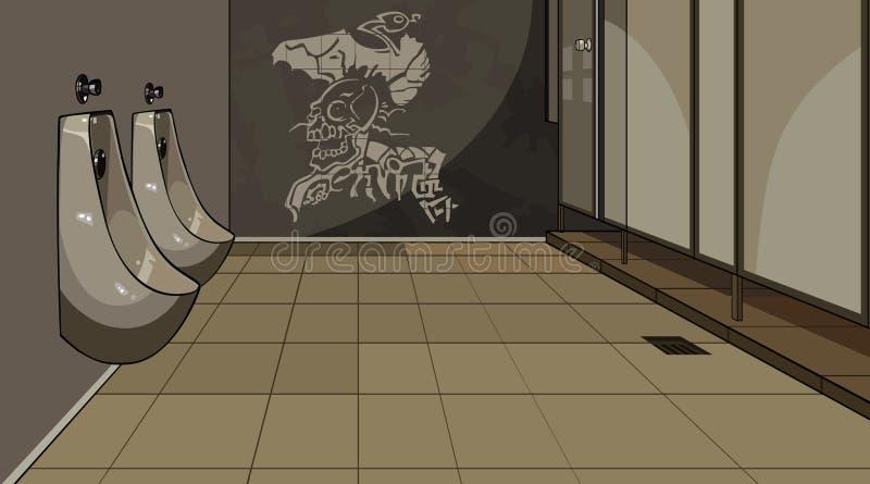 Inre manlig toalett med pissoar royaltyfri bild