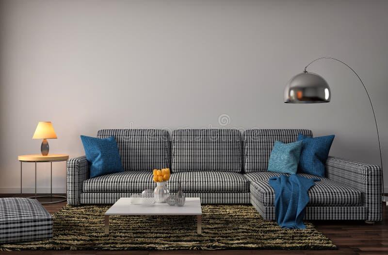 Inre med den blåa soffan illustration 3d stock illustrationer