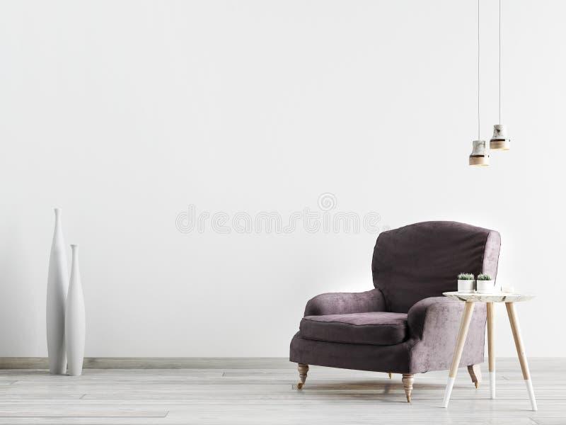 Inre med en fåtölj och lite en tabell på en bakgrund av en tom vägg stock illustrationer
