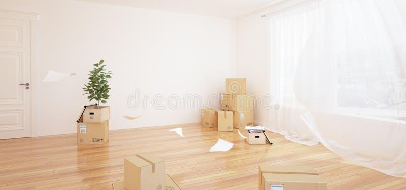 Inre med flyttning boxas i tomt vitt rum royaltyfri illustrationer
