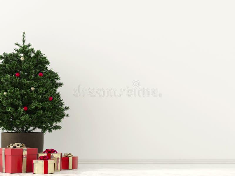 Inre med julträdet vektor illustrationer