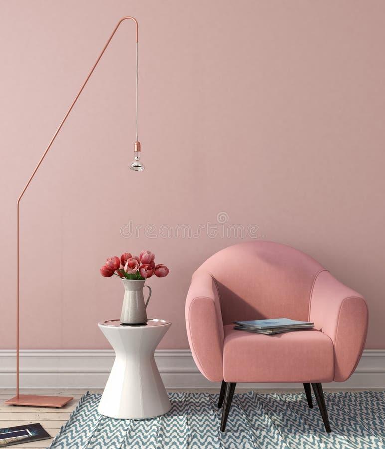 Inre med rosa färgstol och den stilfulla golvlampan royaltyfria bilder