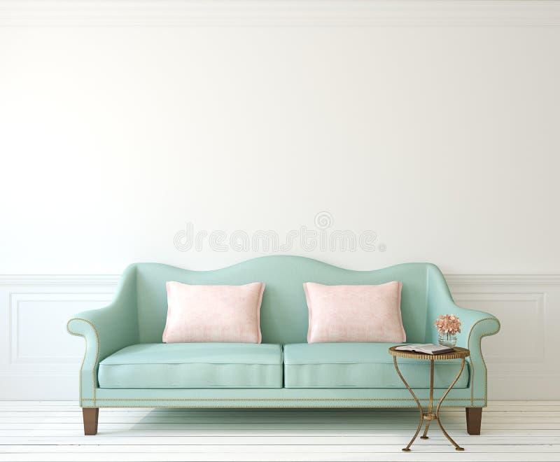 Inre med soffan royaltyfri illustrationer