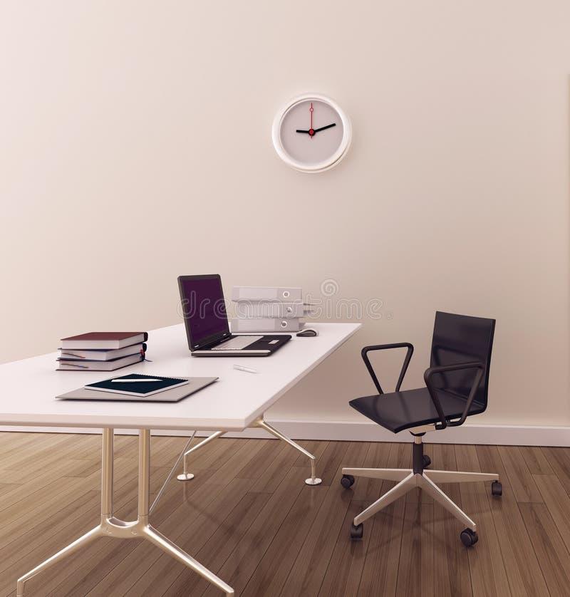 inre minsta modernt kontor stock illustrationer