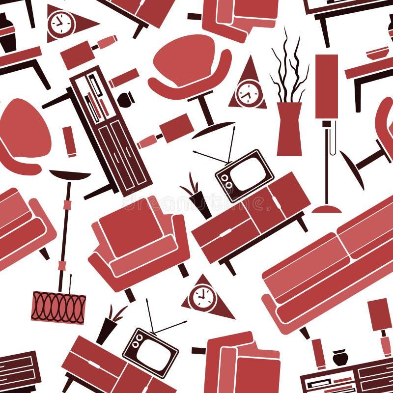 Inre modell för Retro sömlös vardagsrum stock illustrationer