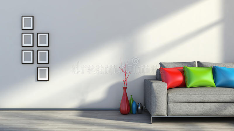inre modern sofa royaltyfri illustrationer