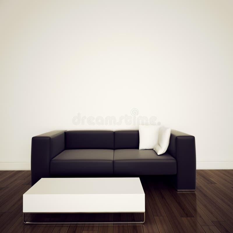 inre modern sofa för framförande 3d arkivfoto