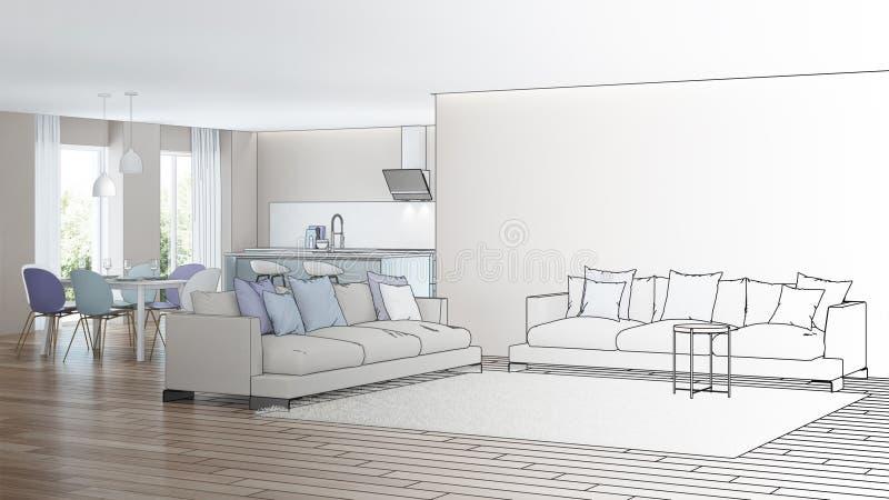 inre modernt för hus Designprojekt skissa royaltyfri foto