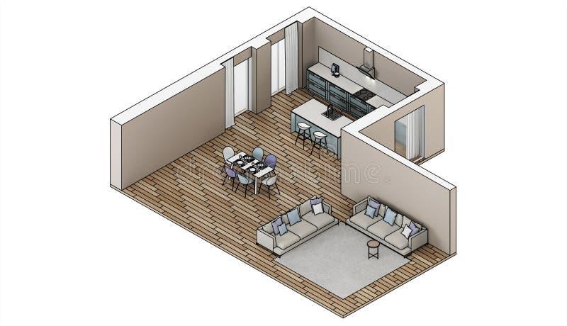 inre modernt för hus Designprojekt skissa Ortogonal projektion royaltyfria bilder